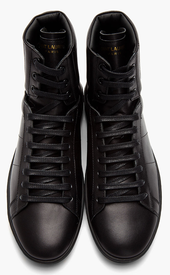 saint laurent black leather high top sneakers 2