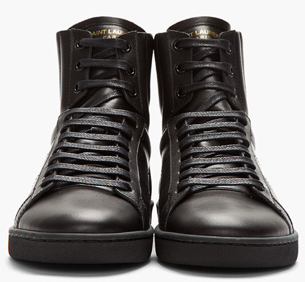 saint laurent black leather high top sneakers